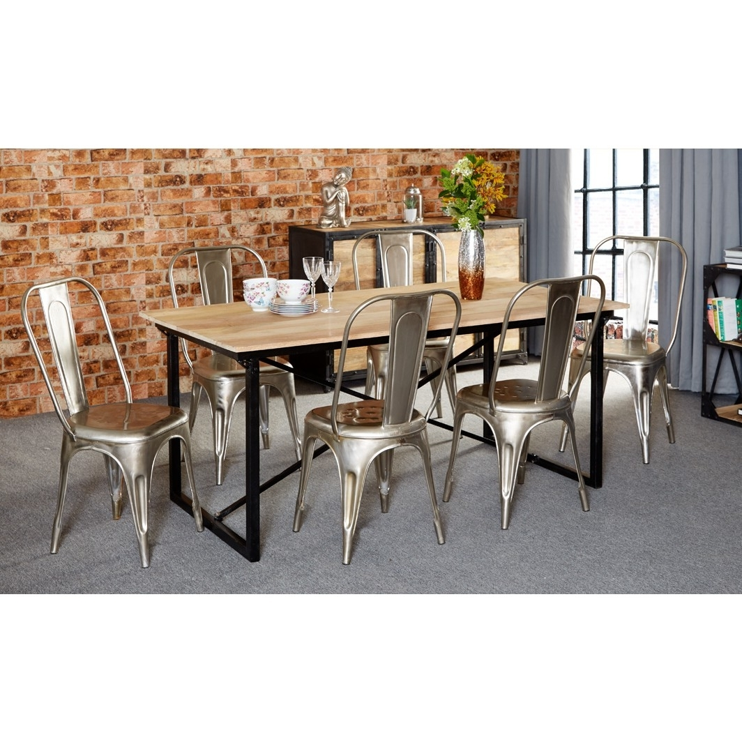 180Cm Dining Tables For Well Known Vintage Mintis Upcycled Industrial 180Cm Seater Dining Table Set (View 4 of 25)