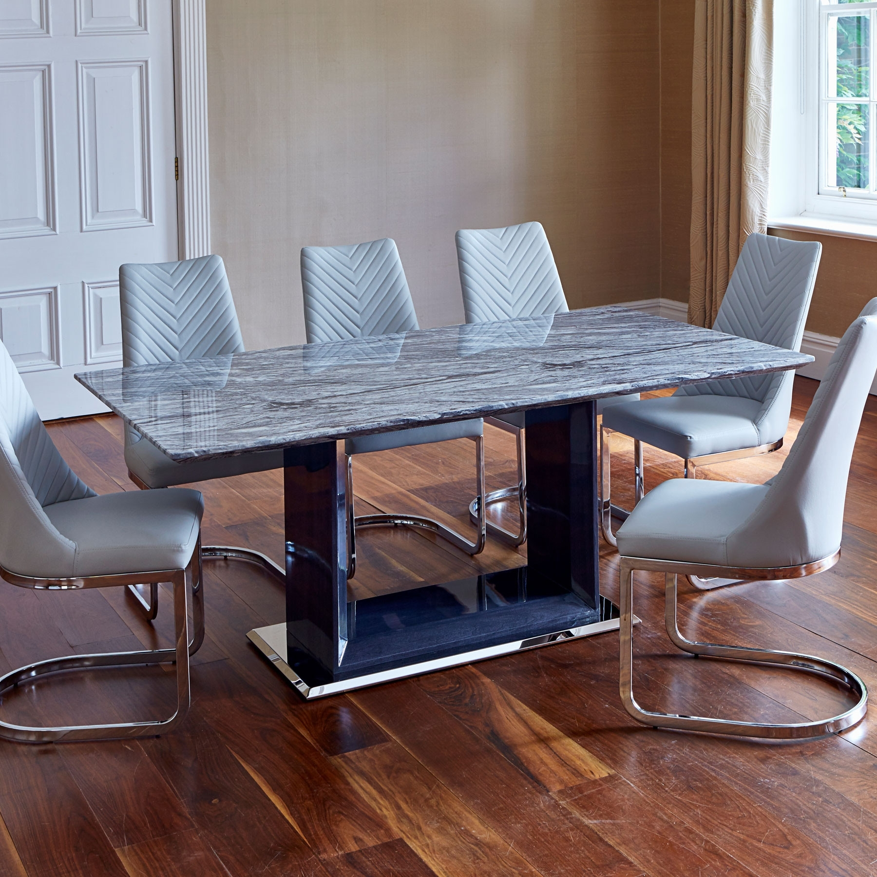 180Cm Dining Tables Pertaining To Popular Pescara Marble 180Cm Dining Table & 6 Grey Camber Dining Chairs (Gallery 9 of 25)