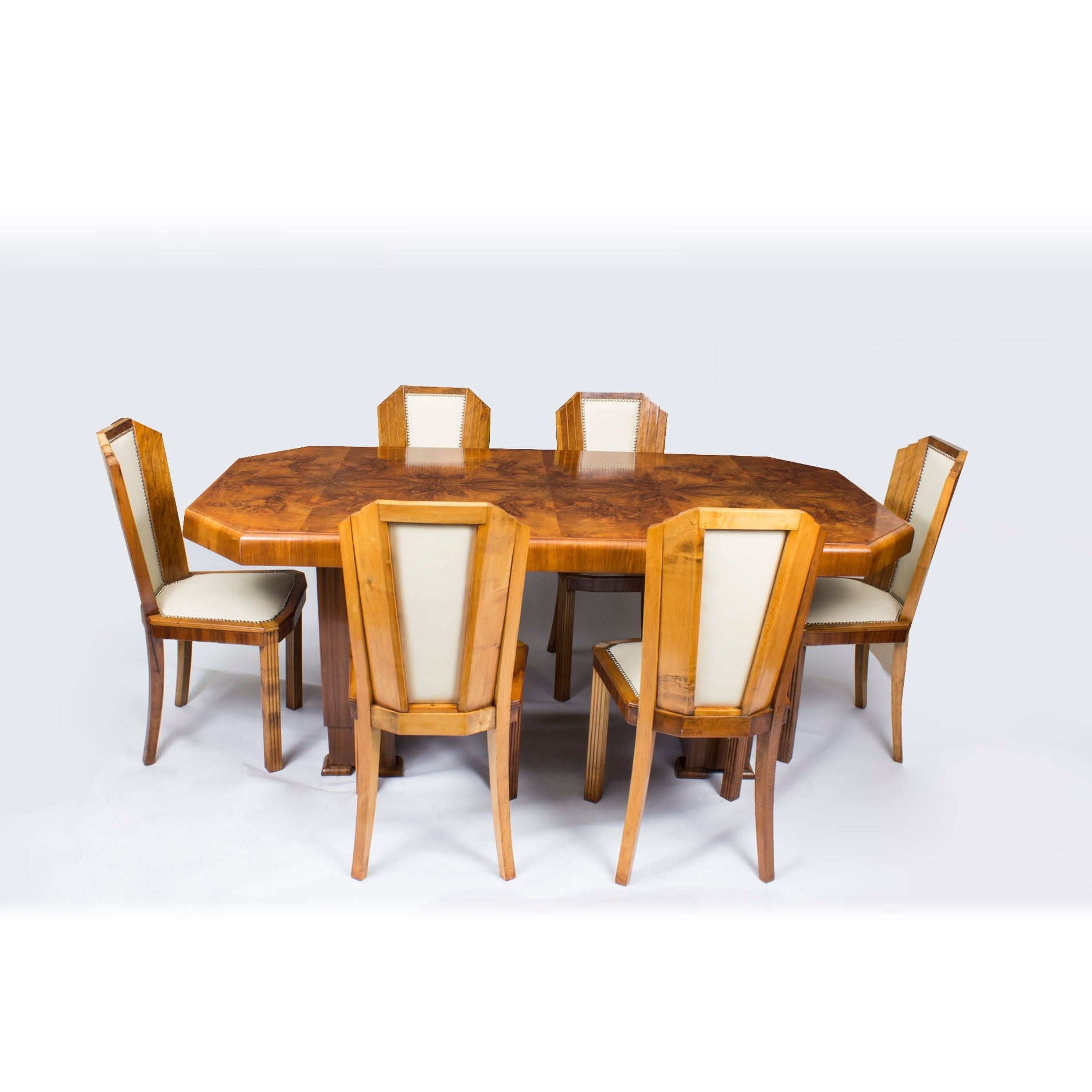 1930S Art Deco Burr Walnut Dining Table 6 Chairs (C (View 1 of 25)