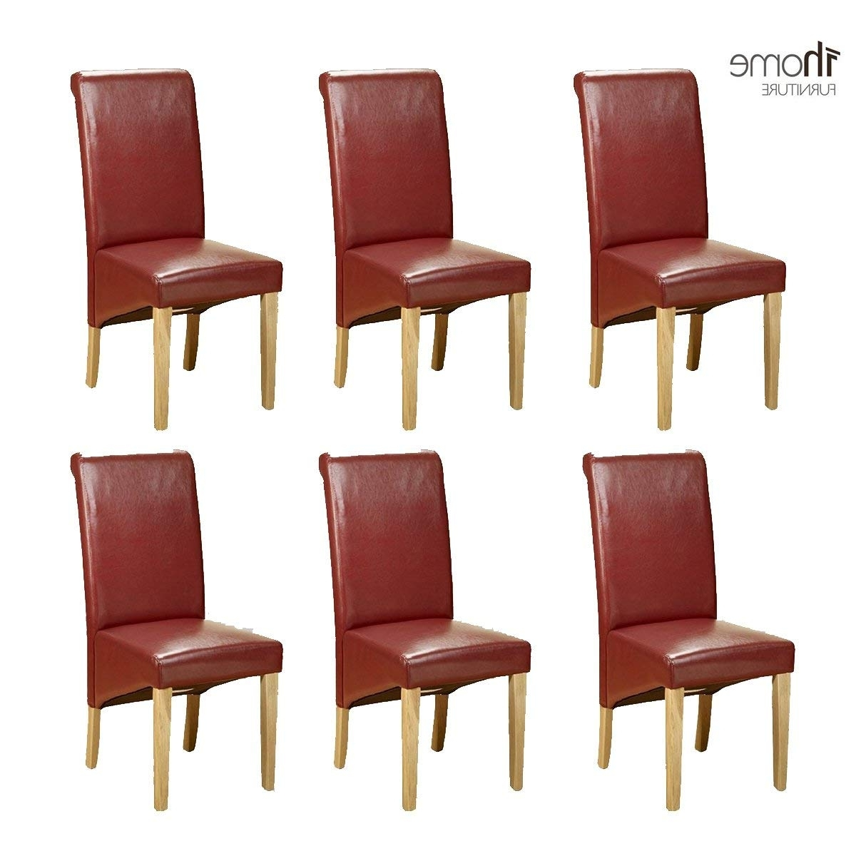 1Home 6 X Leather Red Dining Chair W Oak Finish Wood Legs Roll Top Inside Famous Red Dining Chairs (View 16 of 25)