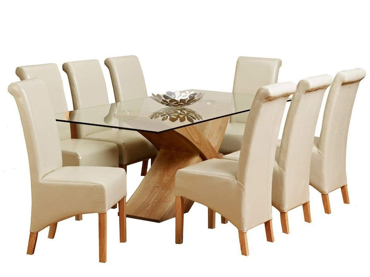 1Home Glass Top Oak Cross Base Dining Table W/ 6 8 Leather Chairs Intended For Current Solid Oak Dining Tables And 8 Chairs (Gallery 17 of 25)