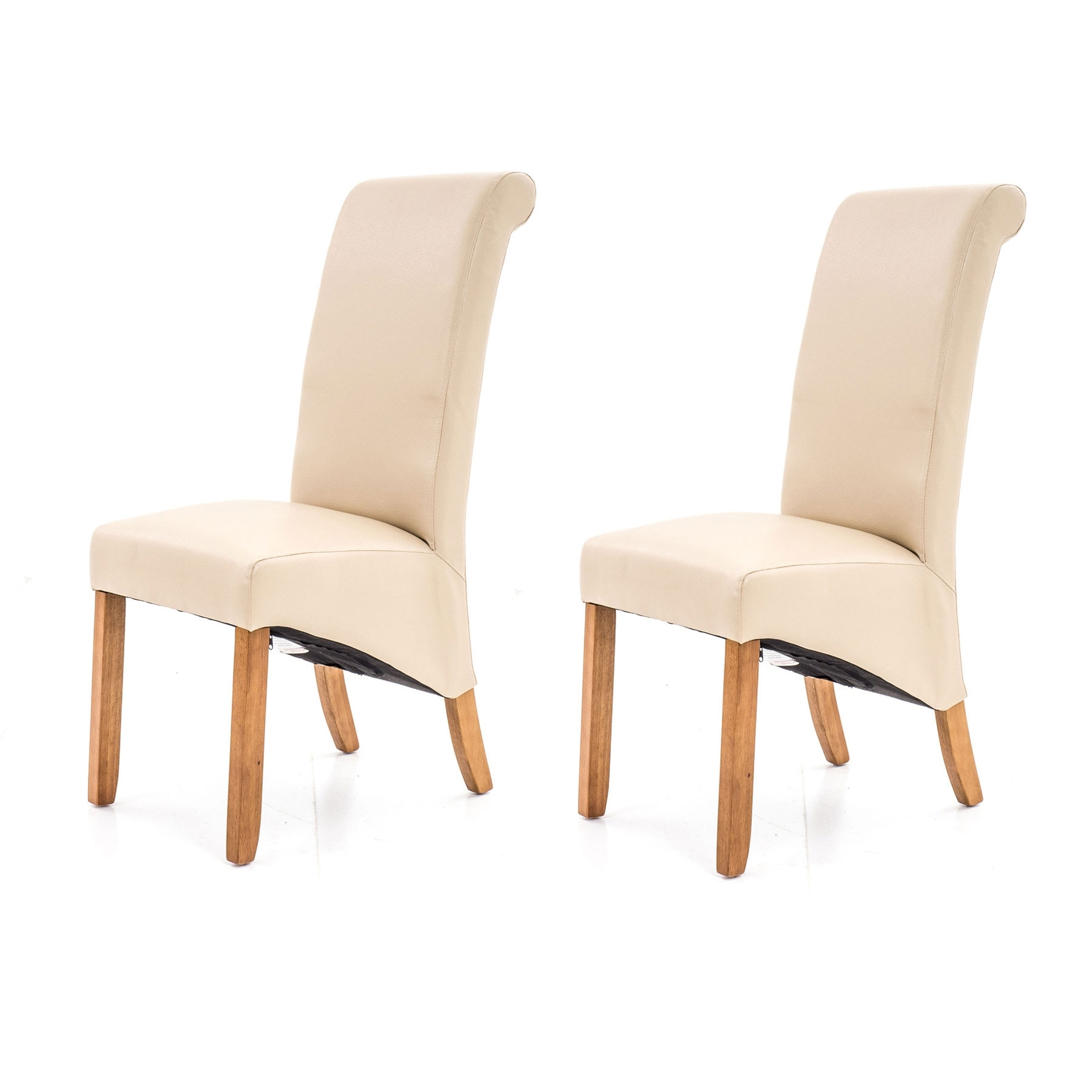 2 Porto Cream Faux Leather Dining Chairs Regarding Famous Cream Faux Leather Dining Chairs (View 18 of 25)