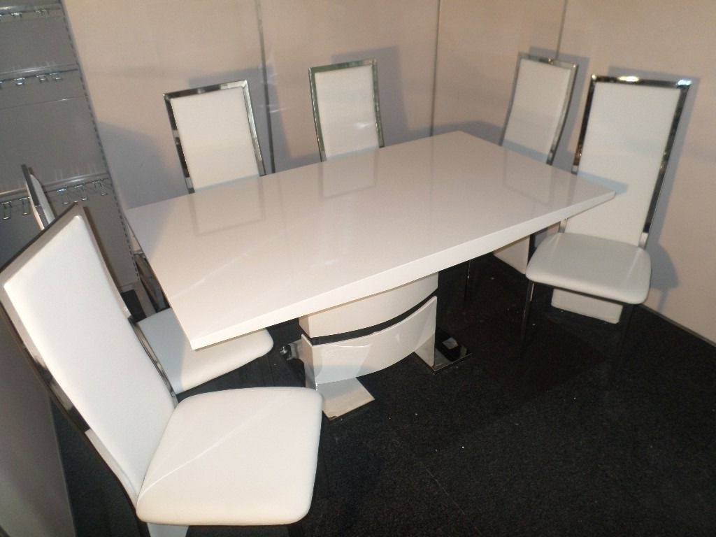 20+ White High Gloss Dining Table And Chairs – Modern European Throughout Most Recent High Gloss Dining Tables And Chairs (View 9 of 25)