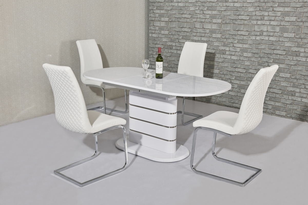200Cm Oval White Gloss Dining Table & 8 White Chairs – Homegenies For Most Recently Released Oval White High Gloss Dining Tables (View 11 of 25)