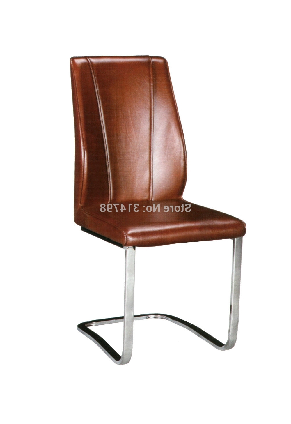 2015 Luxury Brown Leather Dining Chair, Metal Chrome Dining Chairs With Famous Brown Leather Dining Chairs (Gallery 22 of 25)