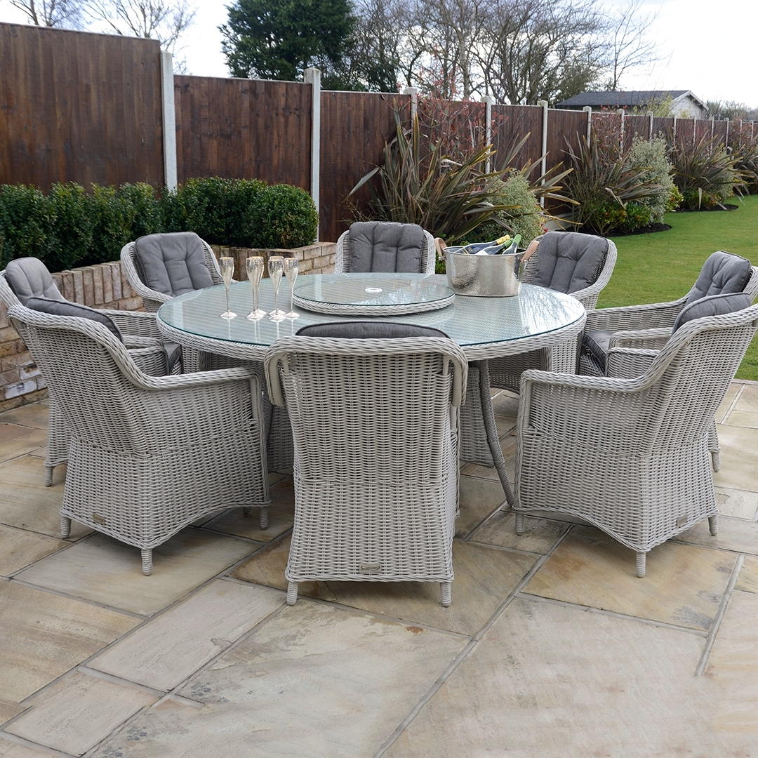 2017 8 Seat Outdoor Cast Aluminium And Rattan Dining Sets Regarding 8 Seat Outdoor Dining Tables (View 11 of 25)