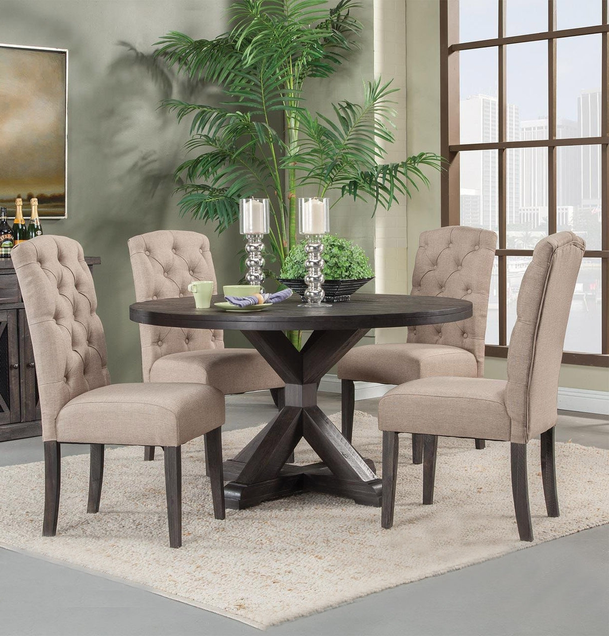"2017 Alpine Newberry 54"" Round Table With Chairs Set In Salvaged Grey for Craftsman 5 Piece Round Dining Sets With Uph Side Chairs"