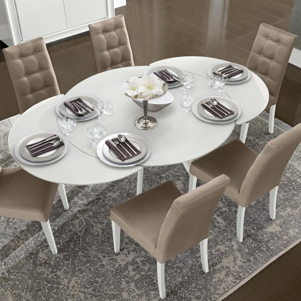2017 Bianca White High Gloss & Glass Round Extending Dining Table 1.2 1.9 In Black Glass Extending Dining Tables 6 Chairs (Gallery 24 of 25)