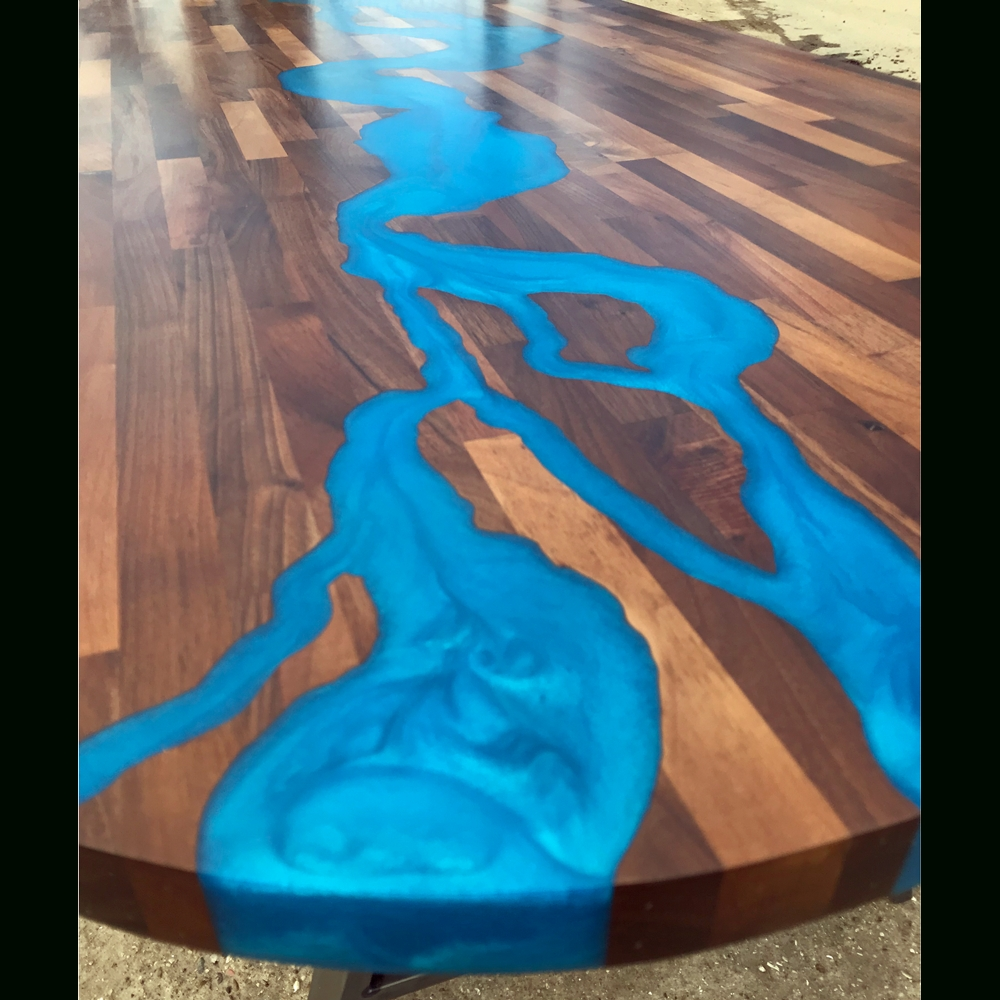 2017 Blue Dining Tables Pertaining To Walnut & Blue Resin River Dining Table (Gallery 19 of 25)