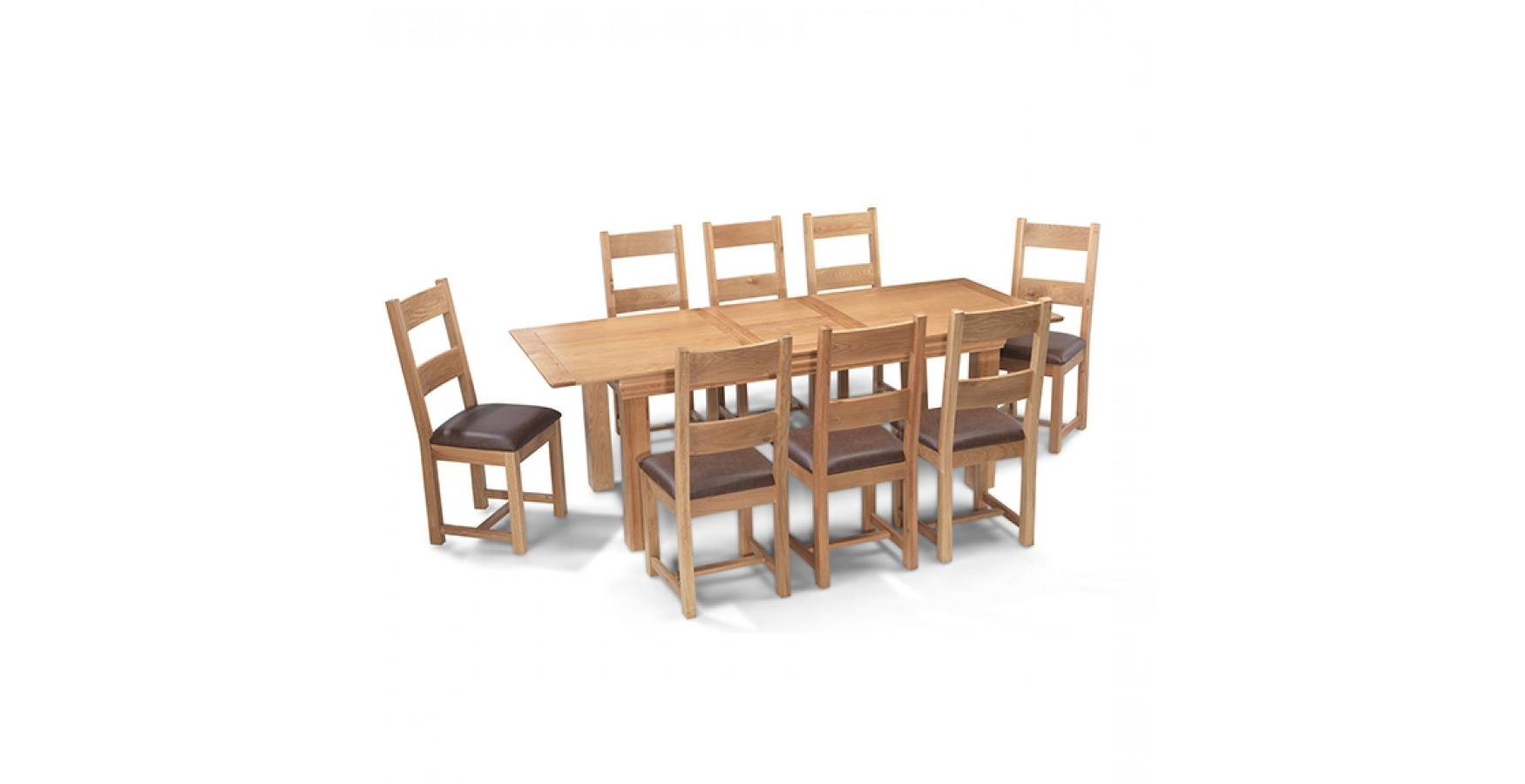 2017 Breton Oak 180 230 Cm Extending Dining Table And 8 Chairs With Regard To Extending Dining Tables And 8 Chairs (Gallery 8 of 25)