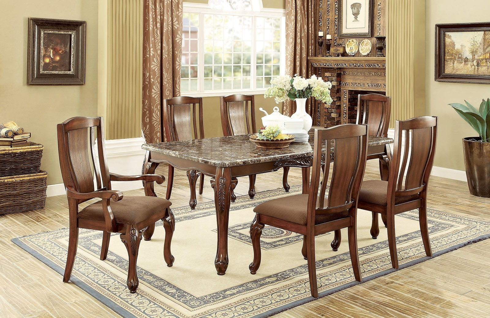 2017 Candice Ii 7 Piece Extension Rectangular Dining Sets With Uph Side Chairs Pertaining To Fleur De Lis Living Choe 7 Piece Dining Set (Gallery 7 of 25)