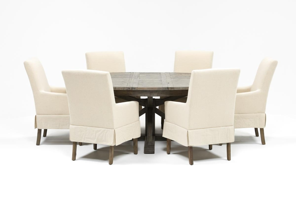 2017 Combs 7 Piece Dining Set W/ Mindy Slipcovered Chairs