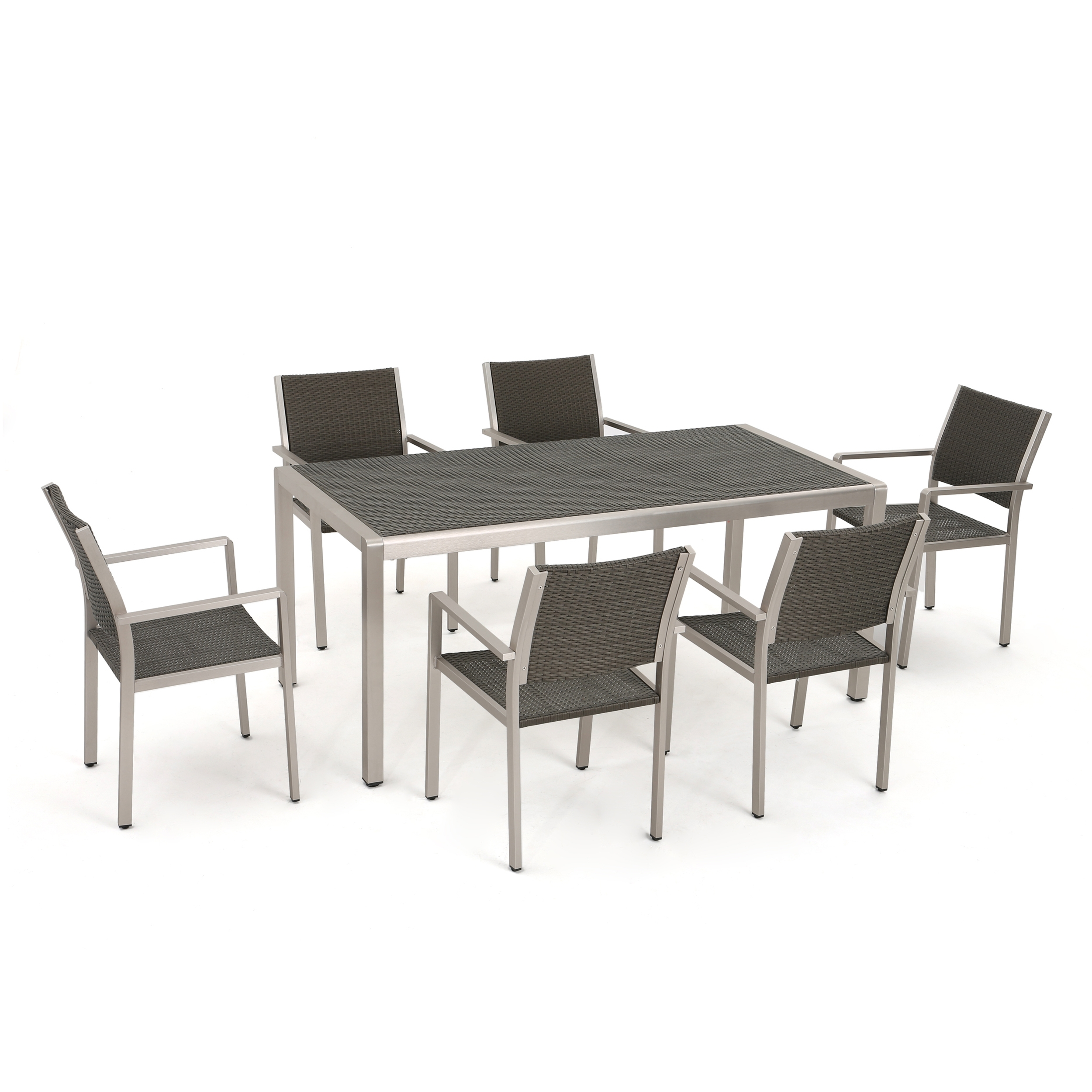 2017 Cora 7 Piece Dining Sets in Coral Bay Outdoor 7 Piece Aluminum Dining Set With Wicker Top, Grey