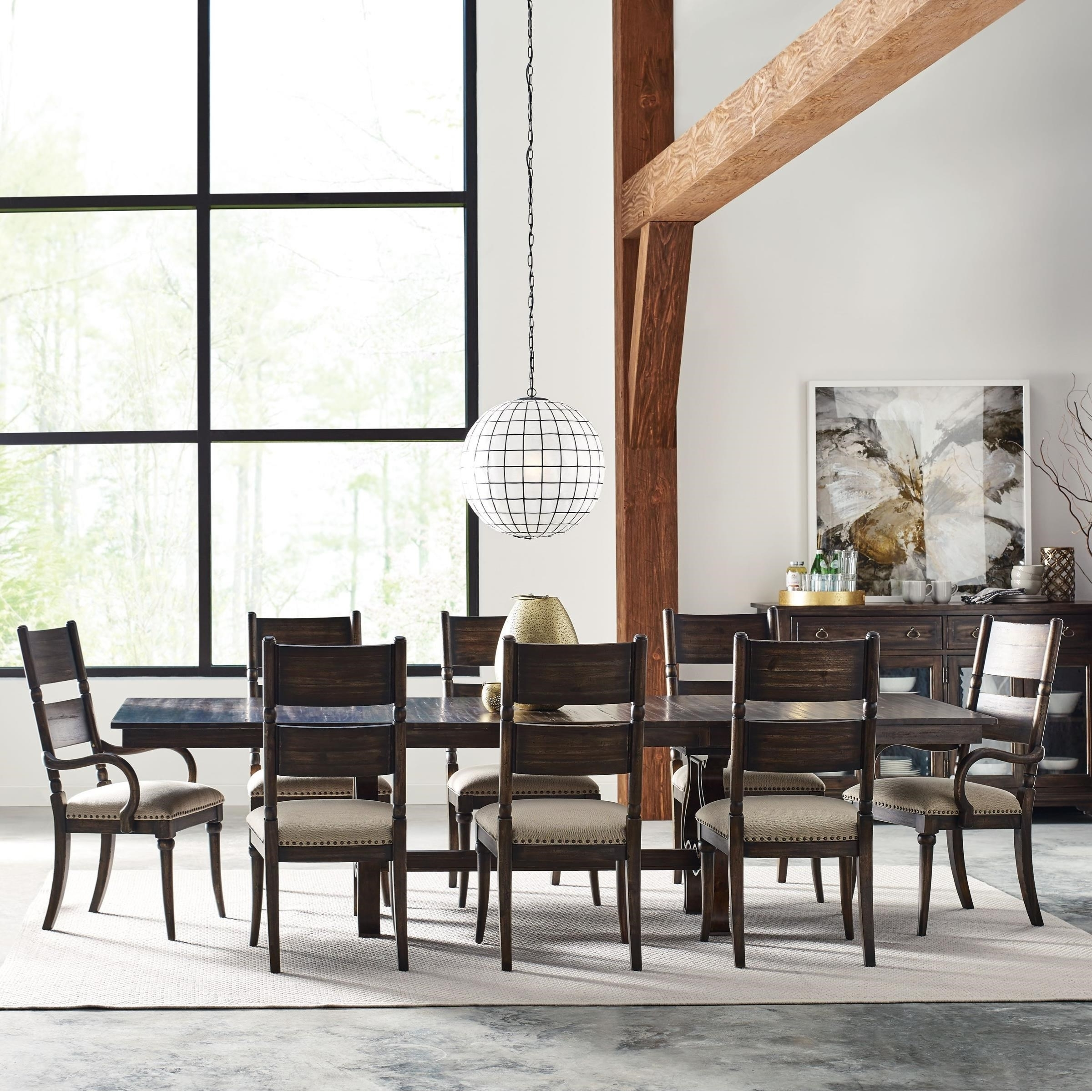 2017 Craftsman 7 Piece Rectangular Extension Dining Sets With Arm & Uph Side Chairs Regarding Kincaid Furniture Wildfire Nine Piece Dining Set With Extendable (View 12 of 25)