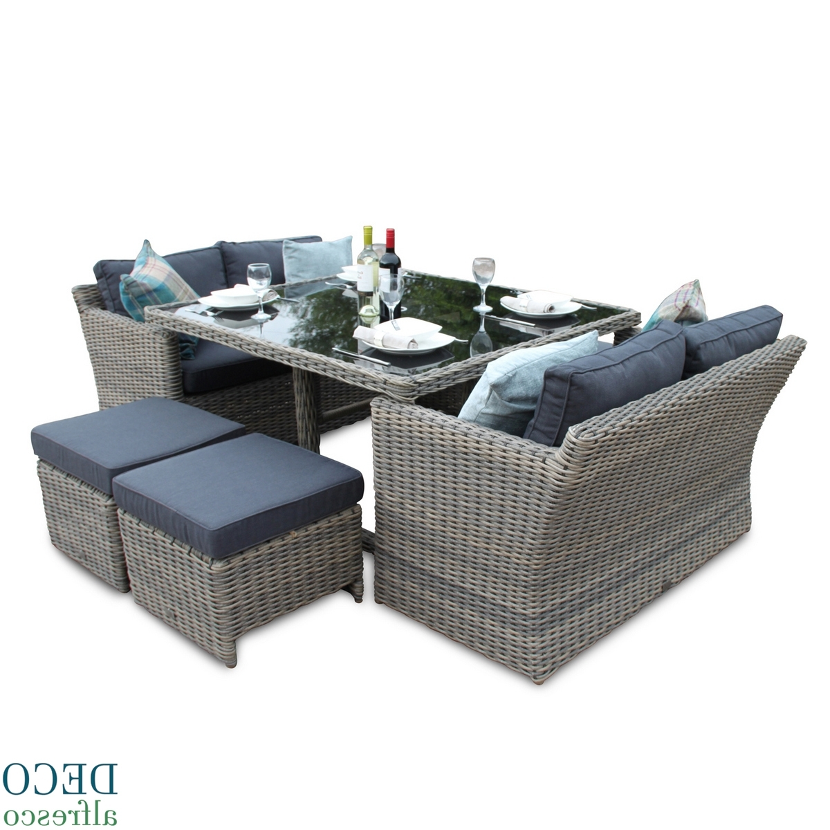2017 Cube Dining Tables throughout 8Pc High Back Sofa Cube Rattan Furniture Set - Natural Deco Alfresco
