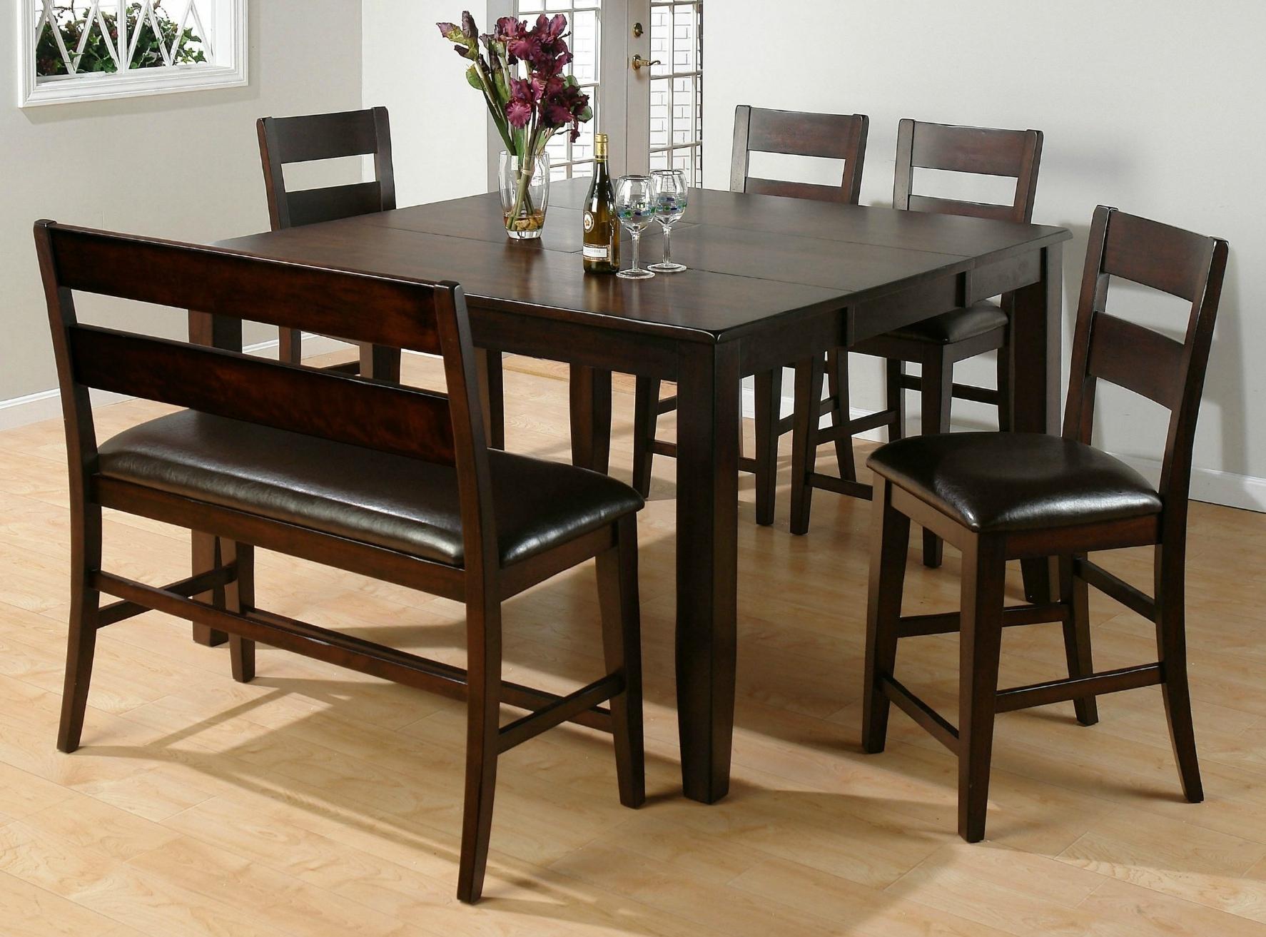 2017 Dark Brown Wood Dining Tables Regarding Furniture. Sturdy Dining Table With Bench: Dark Brown Wooden Finish (Gallery 22 of 25)