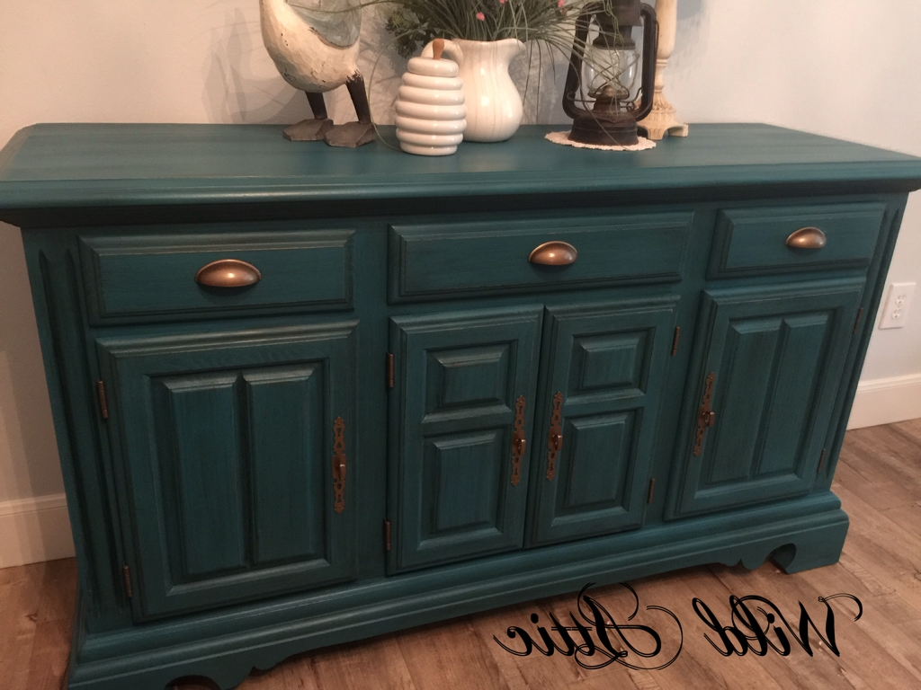 2017 Dark Teal Solid Oak Buffet / Sideboard Madecochrane Furniture with regard to Wyatt 6 Piece Dining Sets With Celler Teal Chairs