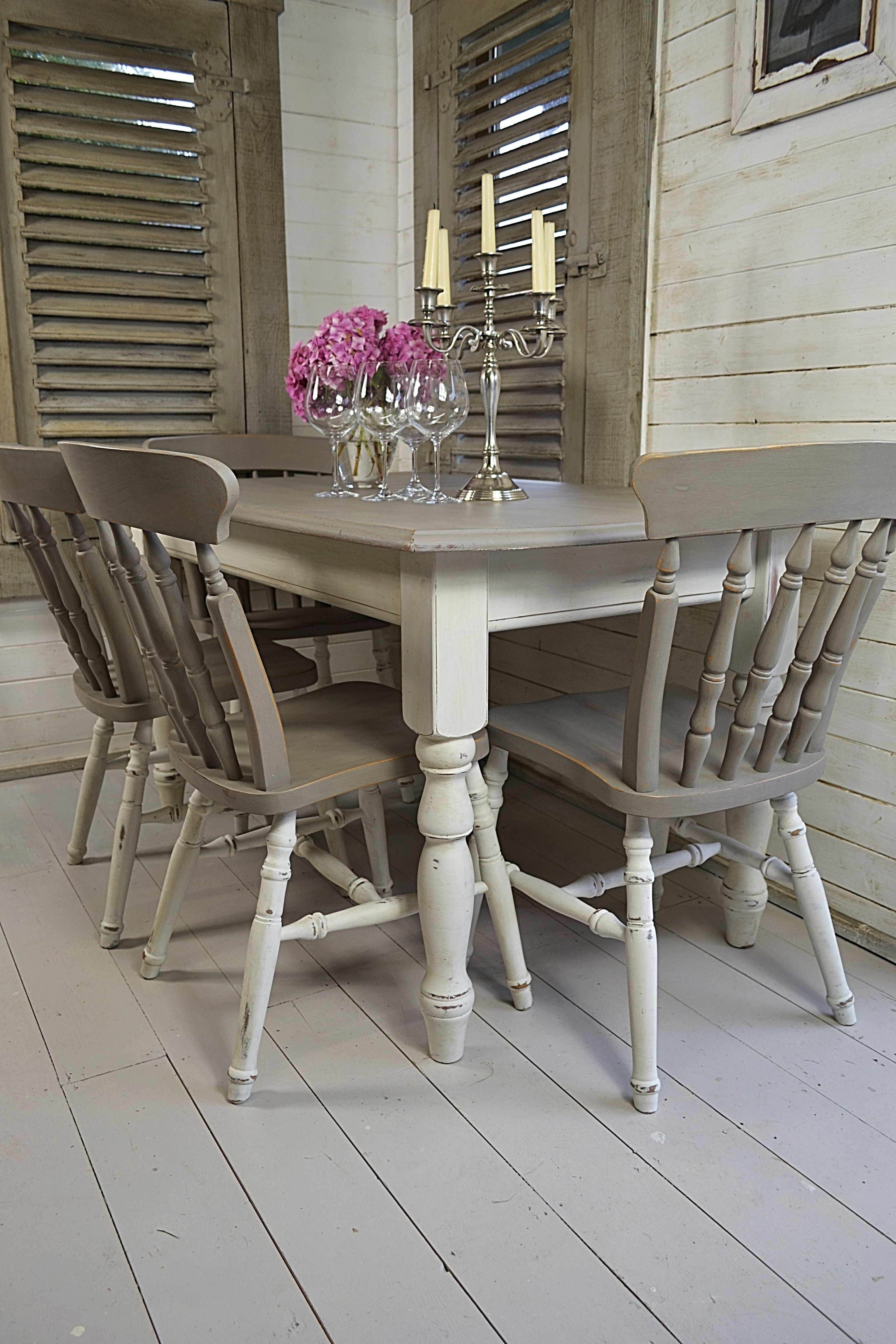 2017 Dine In Style With Our Stunning Grey And White Split Dining Set With Dining Tables Grey Chairs (View 1 of 25)