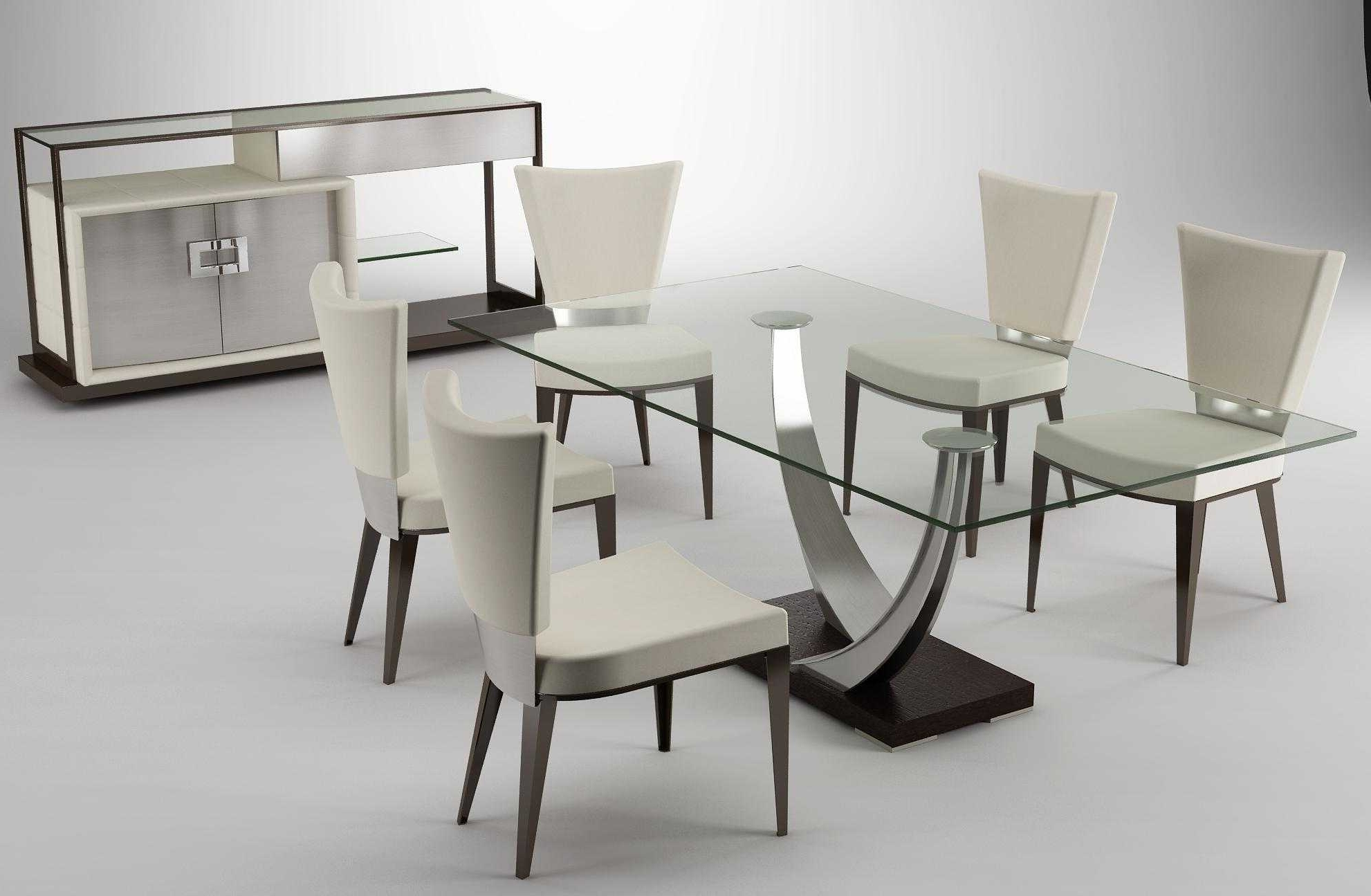 2017 Dining Room Contemporary Nook Dining Set Modern Glass Dining Table Pertaining To Contemporary Dining Room Chairs (View 2 of 25)