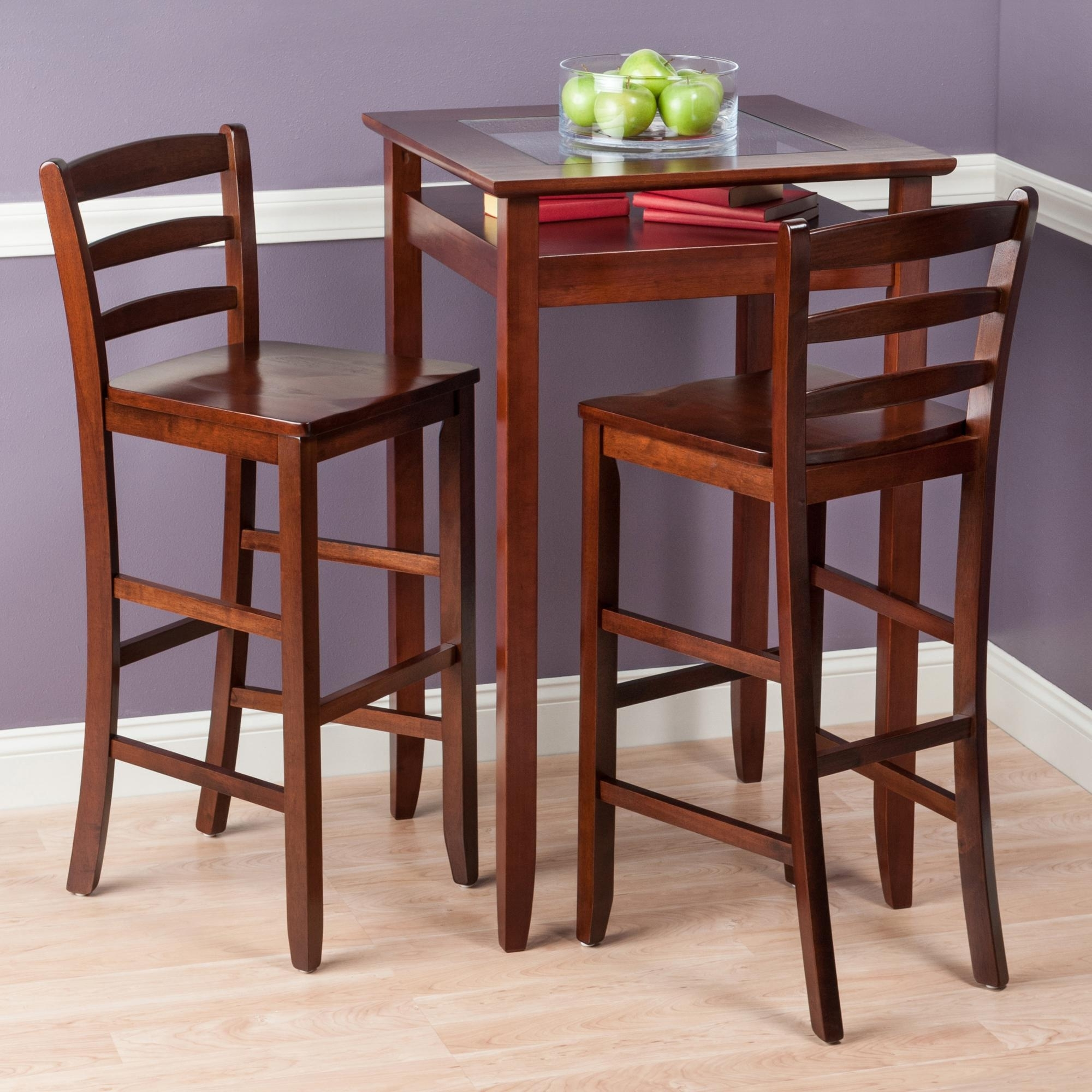 2017 Dining Table Sets For 2 Within Amazon: Winsome Wood Halo 3 Piece Pub Table Set With 2 Ladder (Gallery 7 of 25)
