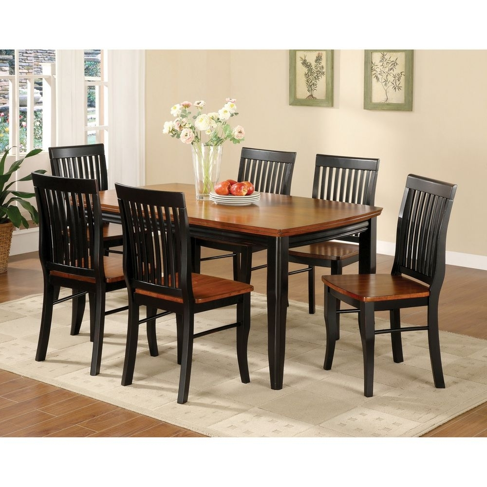2017 Dining Tables And Chairs Sets In Nora Two Tone Solid Wood Slat Back Dining Chairs (Set Of 2 (Gallery 12 of 25)