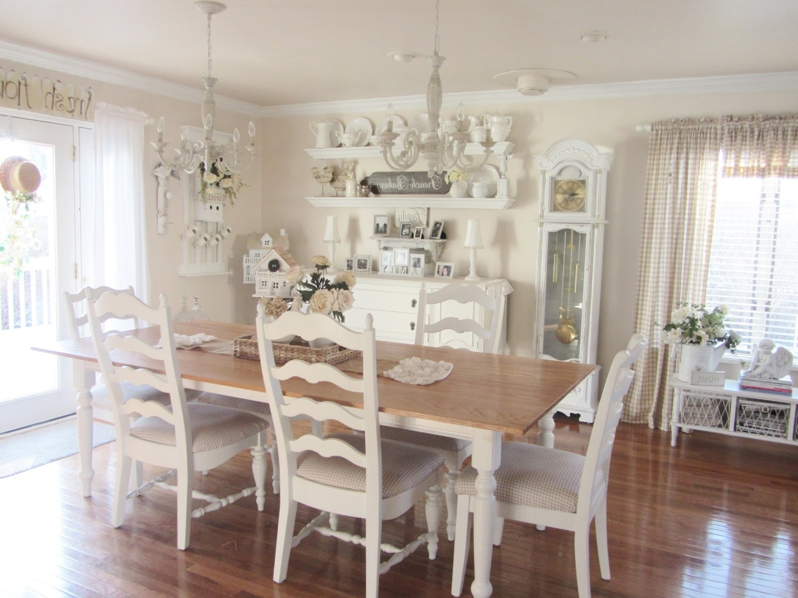 2017 Dining Tables Lighting with Antique White Stained Oak Wood Dining Table Using Rectangle Light