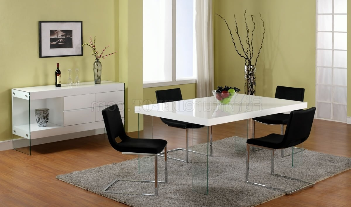 2017 Dining Tables With White Legs regarding White Lacquered Dining Table W/glass Legs & Optional Chairs