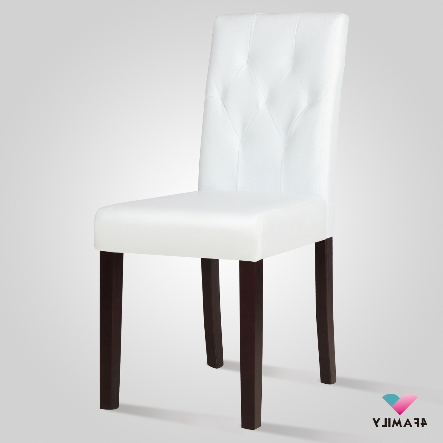 2017 Elegant White Leather Dining Room Chair Kitchen With Tufted Backrest With White Leather Dining Room Chairs (Gallery 9 of 25)