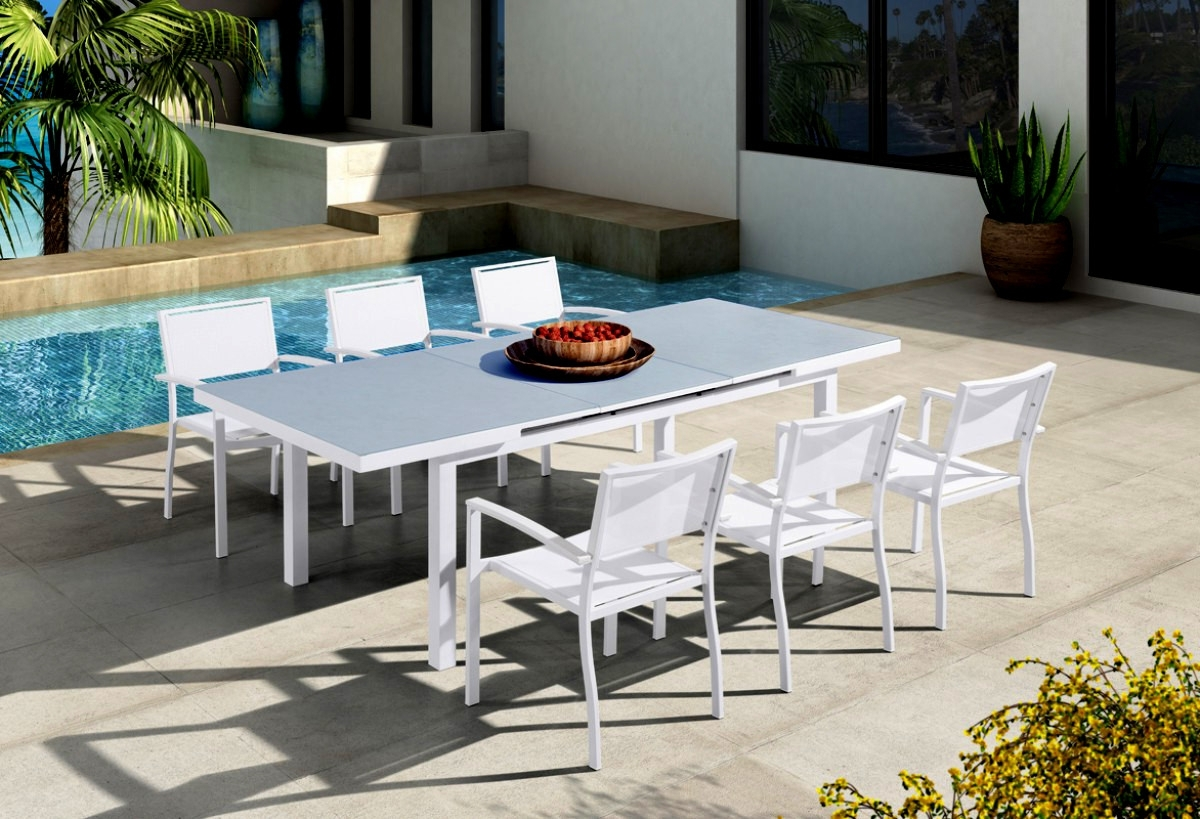 2017 Extendable Dining Table Sets Within Renava Tybee Outdoor White Extendable Dining Table Set (Gallery 23 of 25)