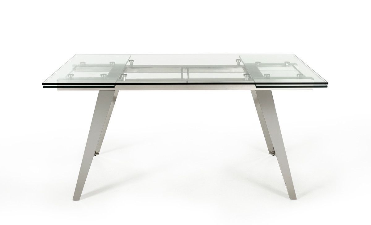2017 Extendable Glass Dining Tables Intended For Modrest Barium Modern Extendable Glass Dining Table (Gallery 9 of 25)