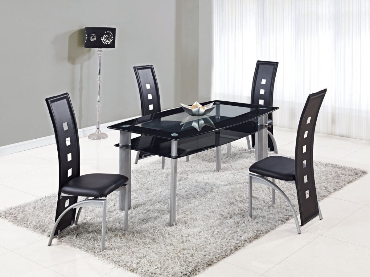 2017 Extendable Rectangular Frosted Glass Top Leather Modern Dining Set regarding Smoked Glass Dining Tables And Chairs
