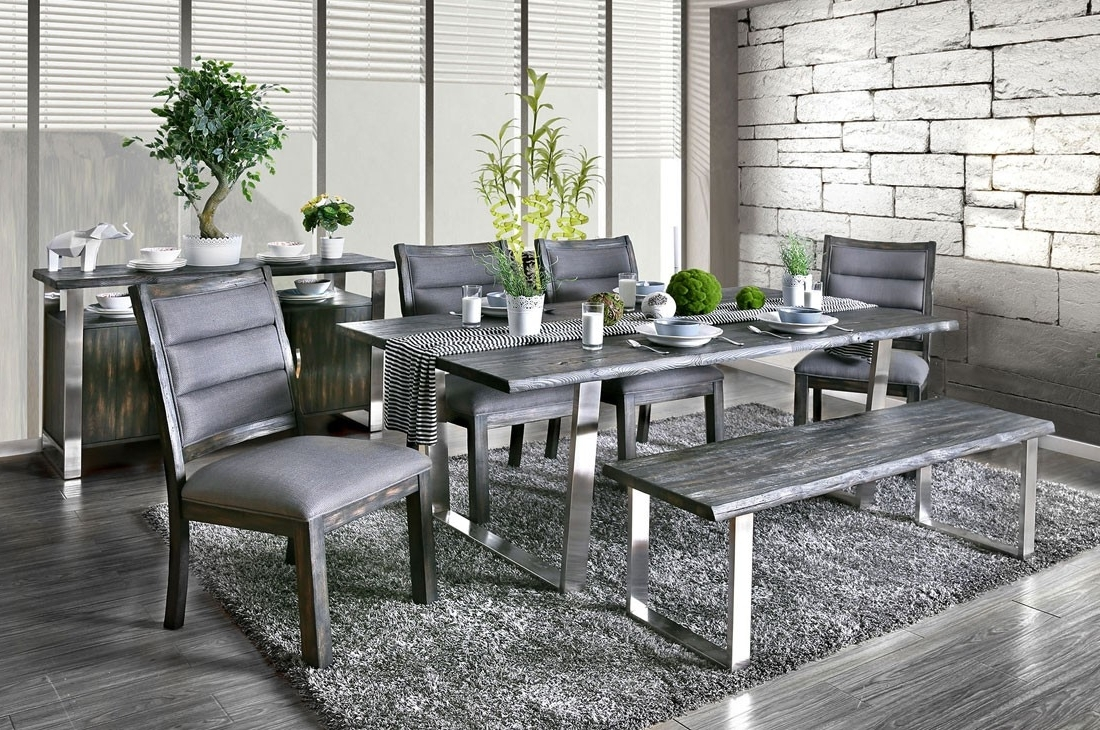2017 Grey Dining Tables Regarding Keller Rustic Grey Dining Table Set (Gallery 25 of 25)