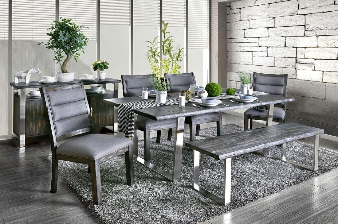 2017 Grey Dining Tables regarding Keller Rustic Grey Dining Table Set