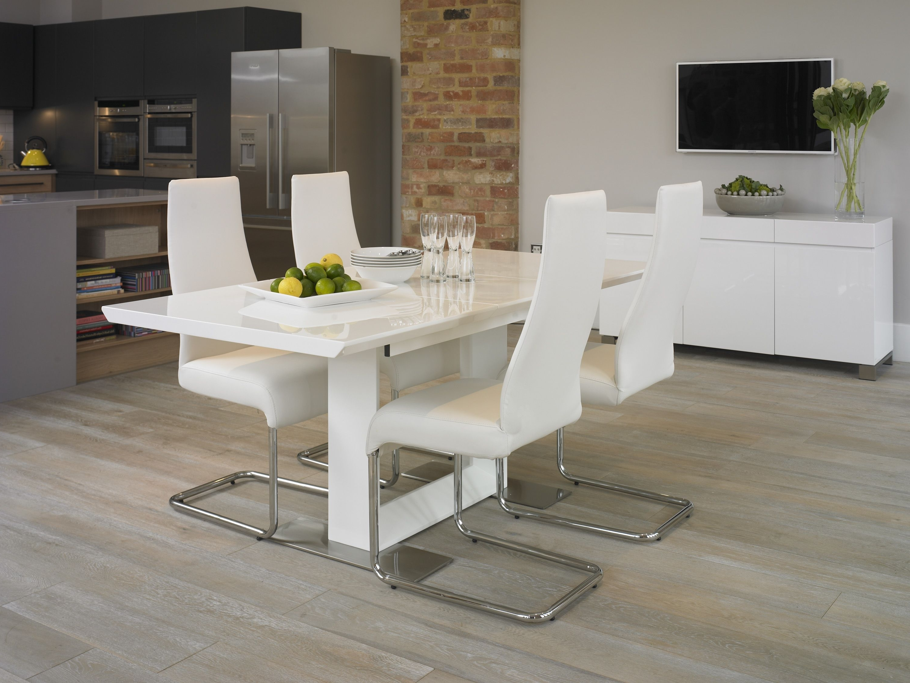 2017 Harlequin White High Gloss Dining Set With 4 Chairs (Gallery 21 of 25)