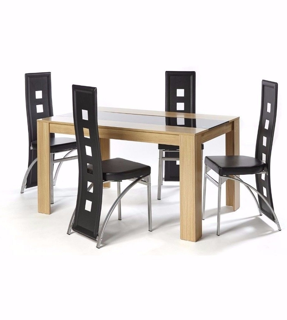 2017 Hudson Dining Tables And Chairs Pertaining To Brand New Hudson 5 Piece Dining Set Large Table 4 Chairs Oak/black (Gallery 1 of 25)