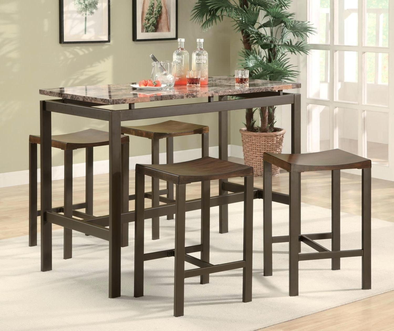 2017 Hyland 5 Piece Counter Sets With Bench Within Hyland Counter Height Dining Room Table – Ocane (Gallery 15 of 25)