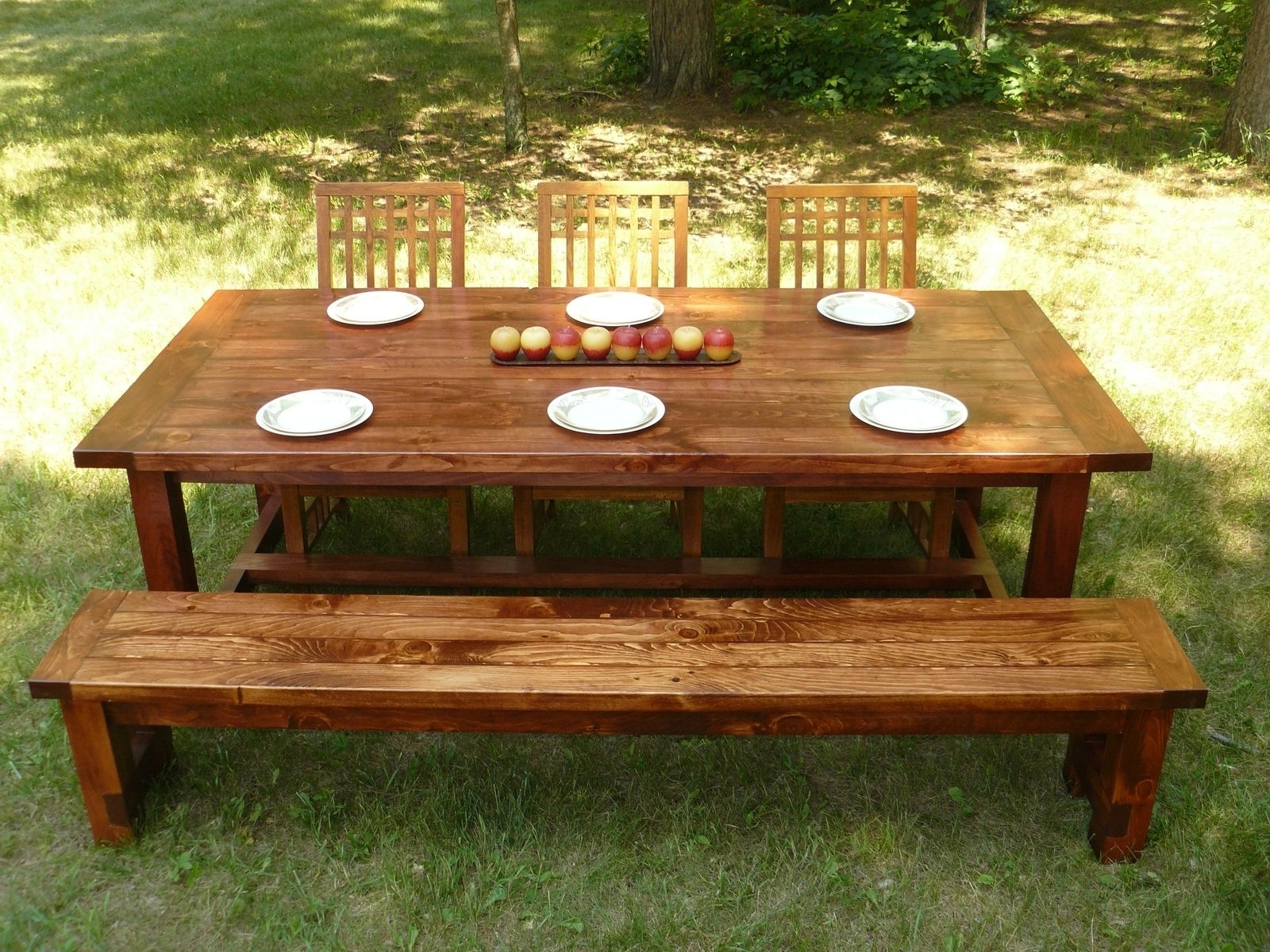 2017 Indoor Picnic Style Dining Tables Inside Custom Made Farmhouse Style Dining Table And Benchminnesota (View 12 of 25)