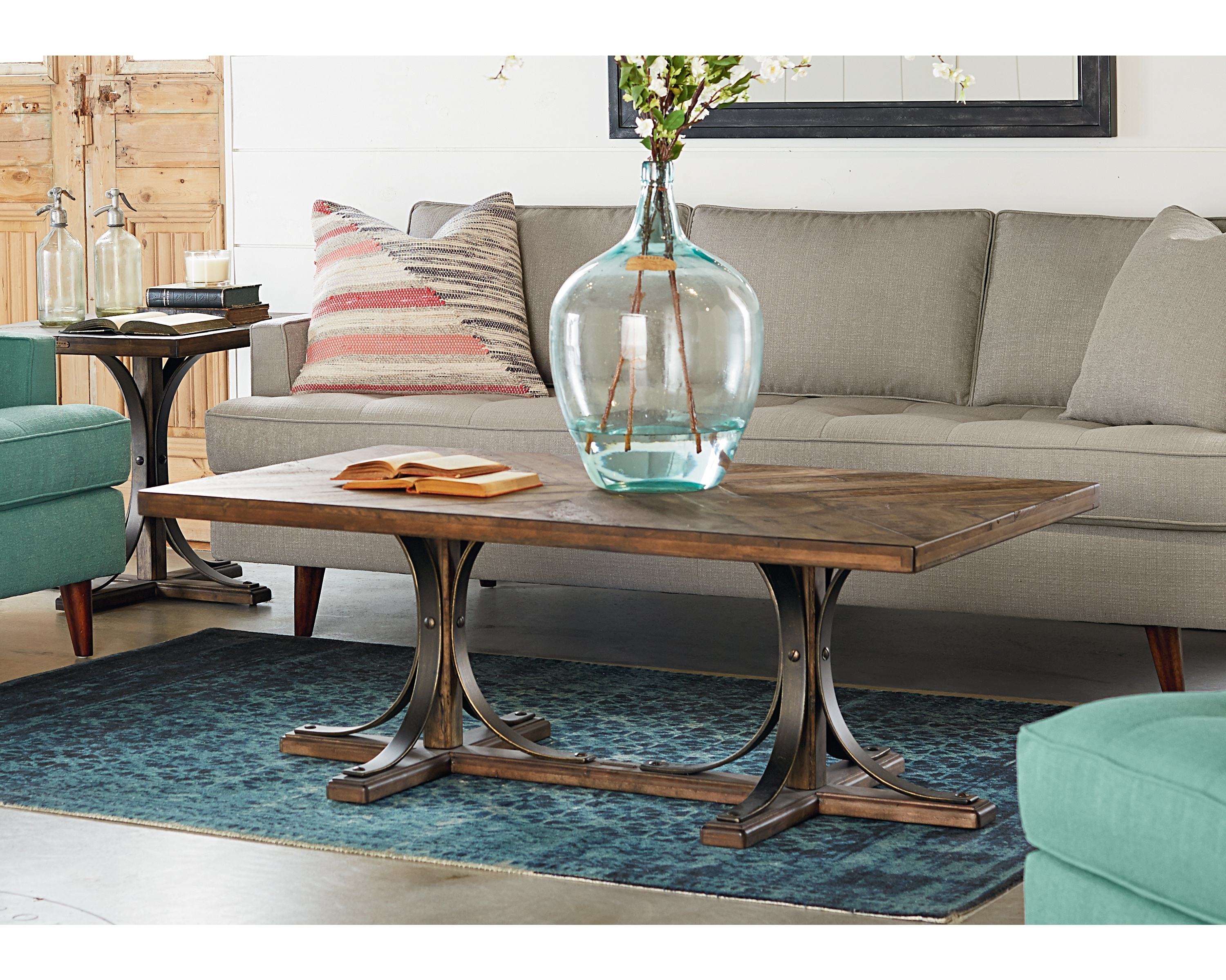 2017 Iron Trestle Coffee Table – Magnolia Home Inside Magnolia Home Shop Floor Dining Tables With Iron Trestle (View 1 of 25)