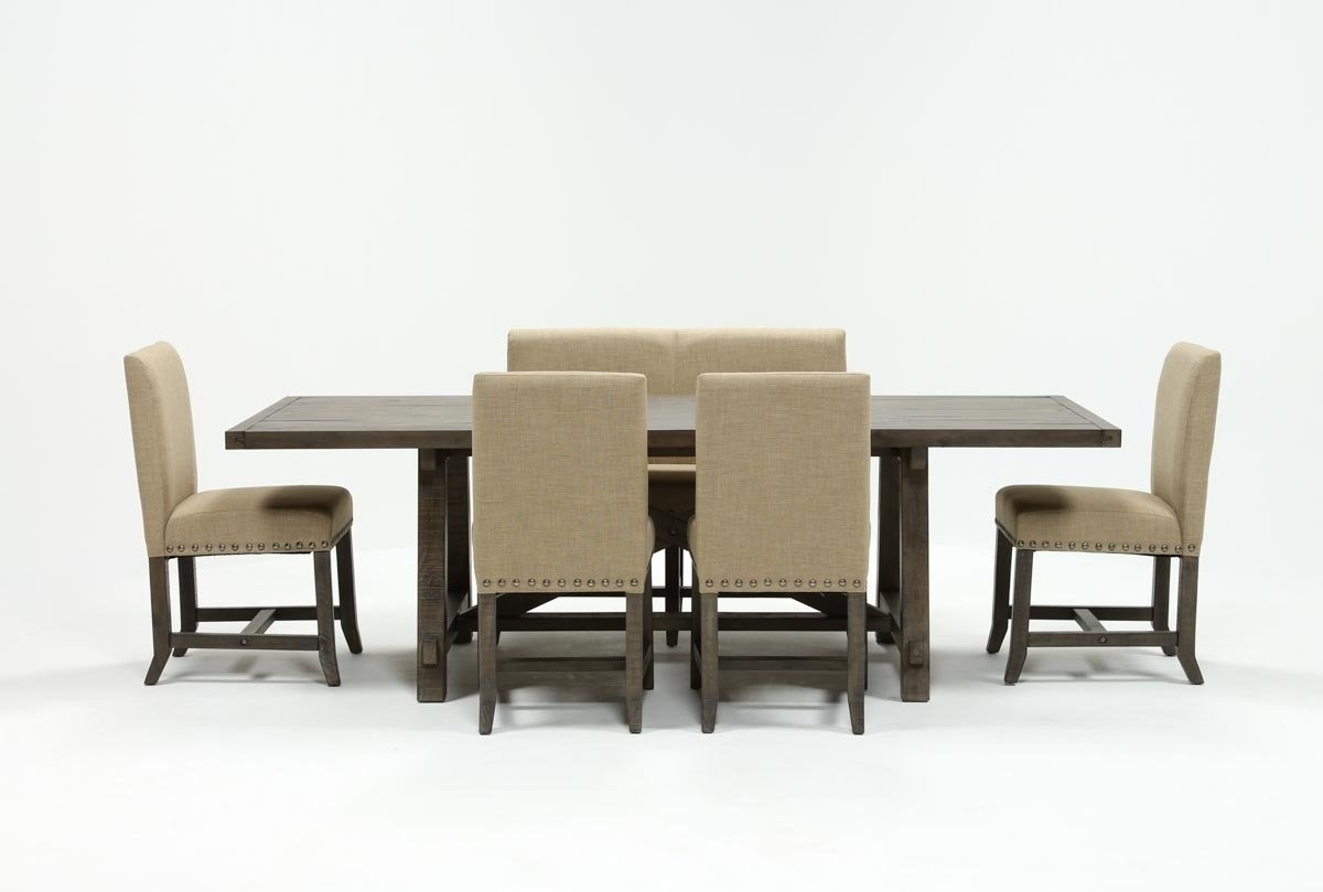 2017 Jaxon Grey 6 Piece Rectangle Extension Dining Set W/bench & Uph Regarding Norwood 9 Piece Rectangular Extension Dining Sets With Uph Side Chairs (Gallery 9 of 25)