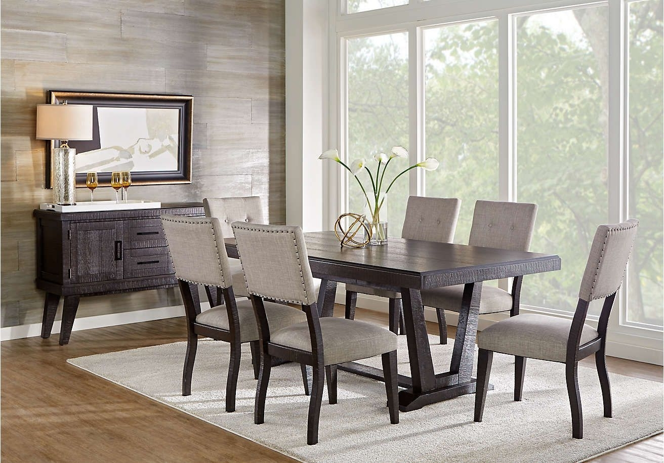 2017 Laurent 7 Piece Rectangle Dining Sets With Wood Chairs In Hill Creek Black 5 Pc Rectangle Dining Room . $777. (View 14 of 25)