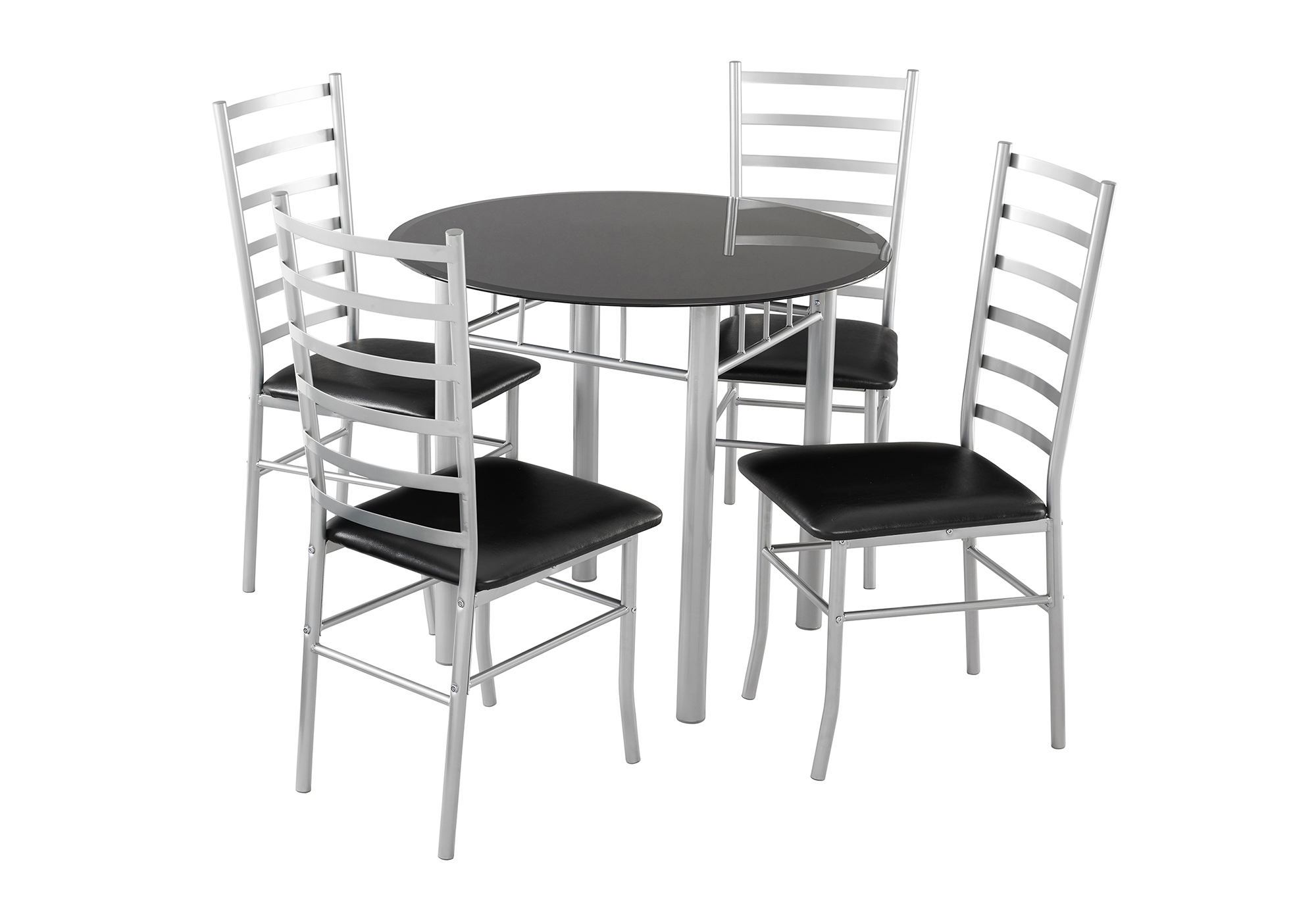 2017 Lincoln Dining Set 4 Seater – Black Glass Dining Table & 4 Chairs Intended For Black Glass Dining Tables (View 1 of 25)