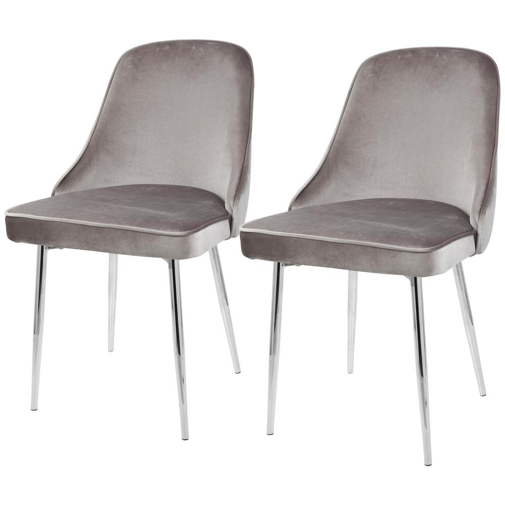 2017 Lumisource Chrome And Silver Marcel Velvet Dining Chair (Set Of 2 Throughout Chrome Dining Chairs (View 4 of 25)
