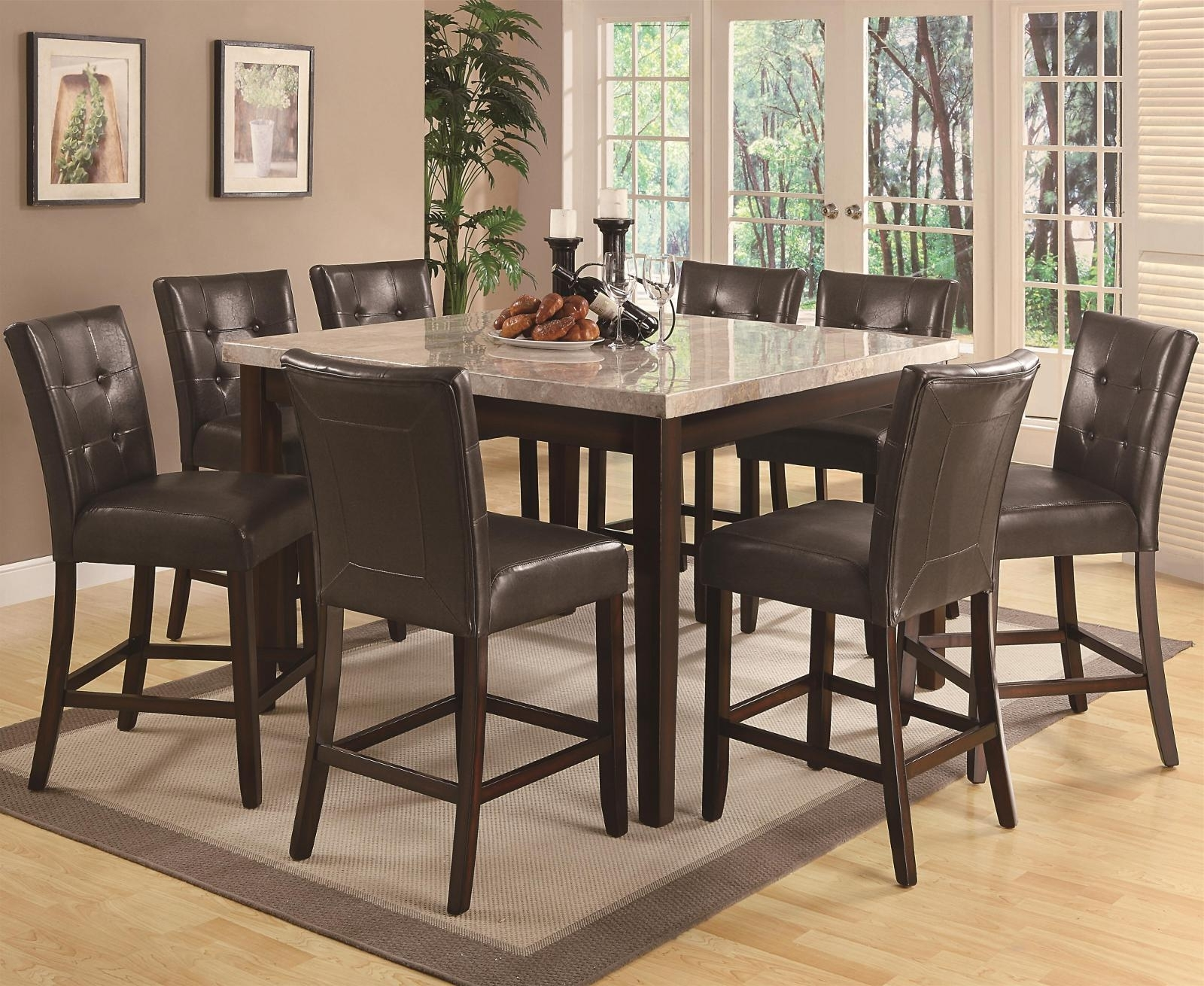 2017 Milton Dining Tables inside Coaster Milton Counter Height Table W/ Tan-Toned Real Marble Top