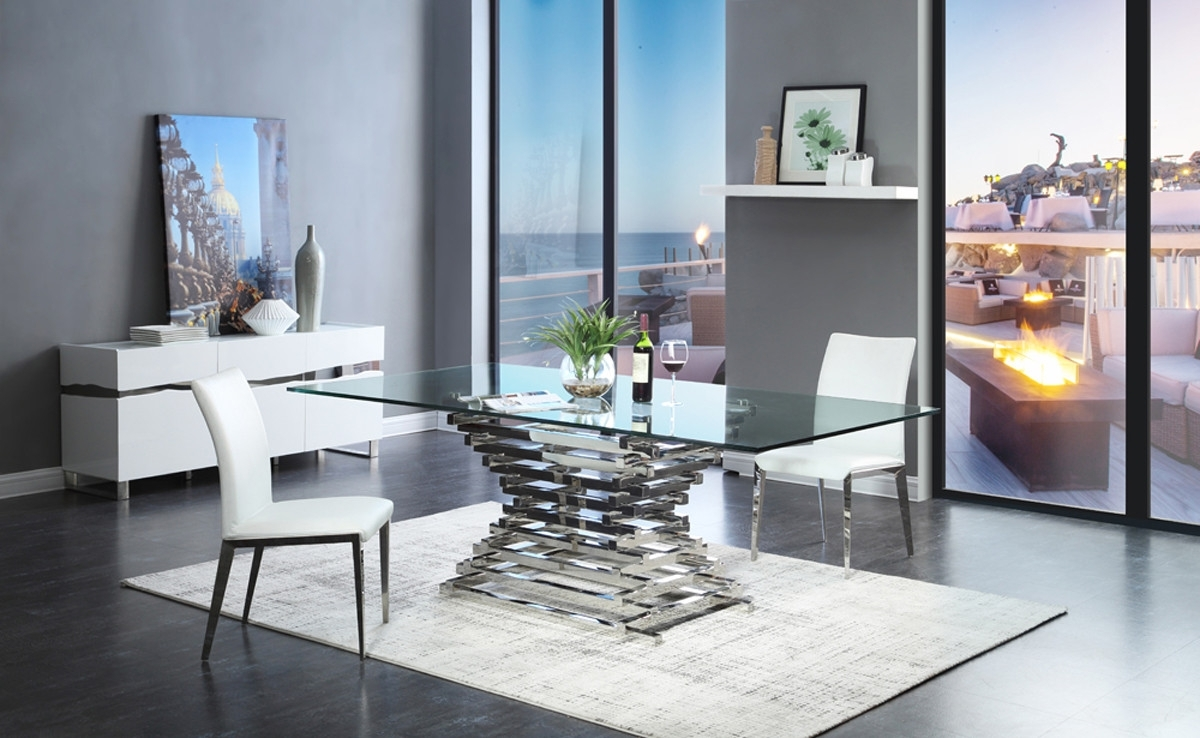 2017 Modrest Crawford Modern Rectangular Glass Dining Table With Glass Dining Tables (View 3 of 25)