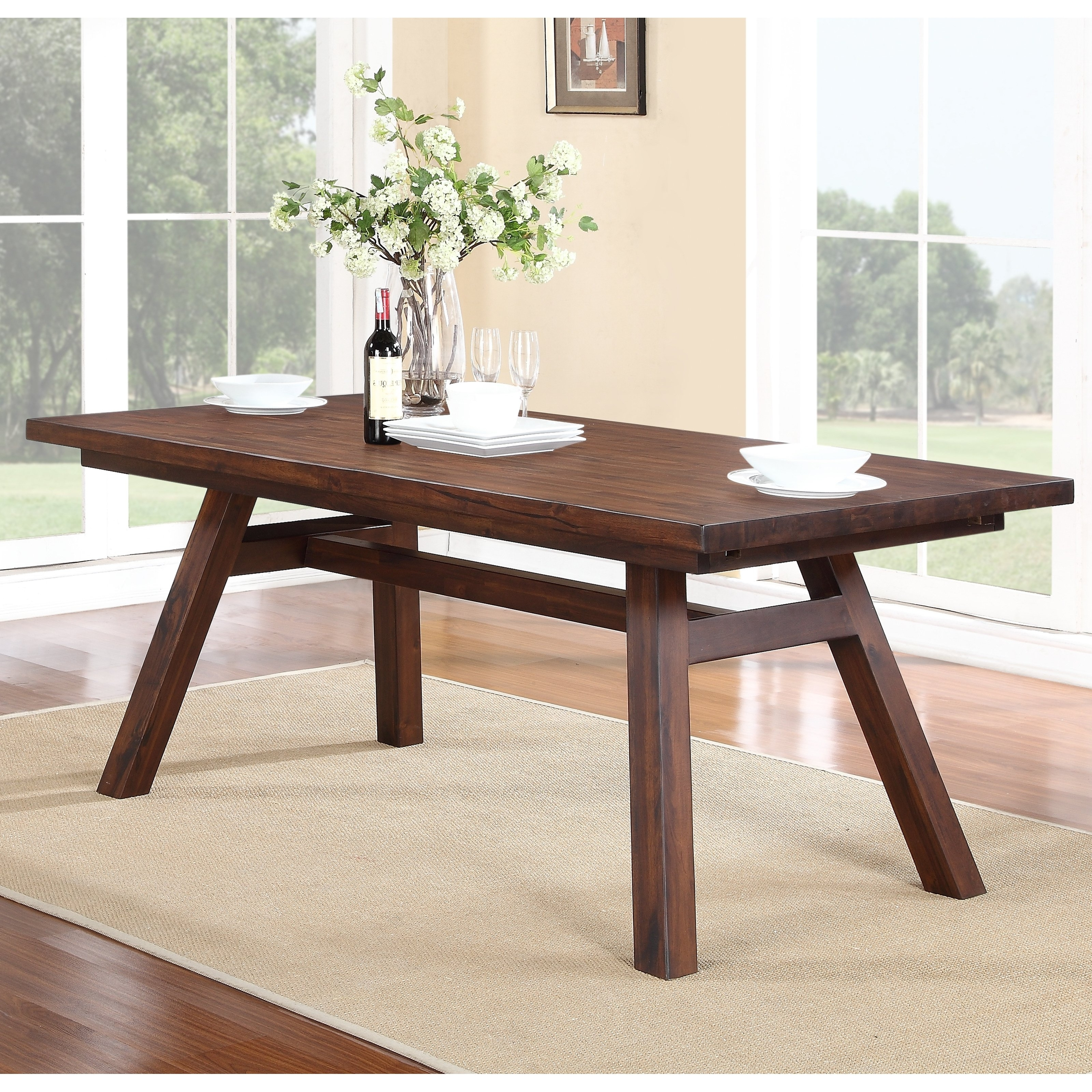2017 Modus Portland Solid Wood Rectangular Extension Table – Medium Walnut With Regard To Lassen Extension Rectangle Dining Tables (Gallery 12 of 25)