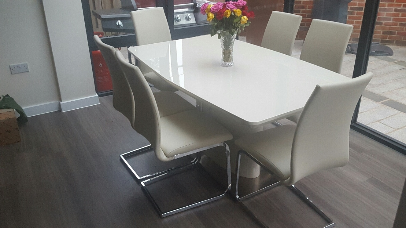 2017 Nora Ivory Cream High Gloss Dining Table Optional Sideboard Inside Hi Gloss Dining Tables Sets (Gallery 7 of 25)