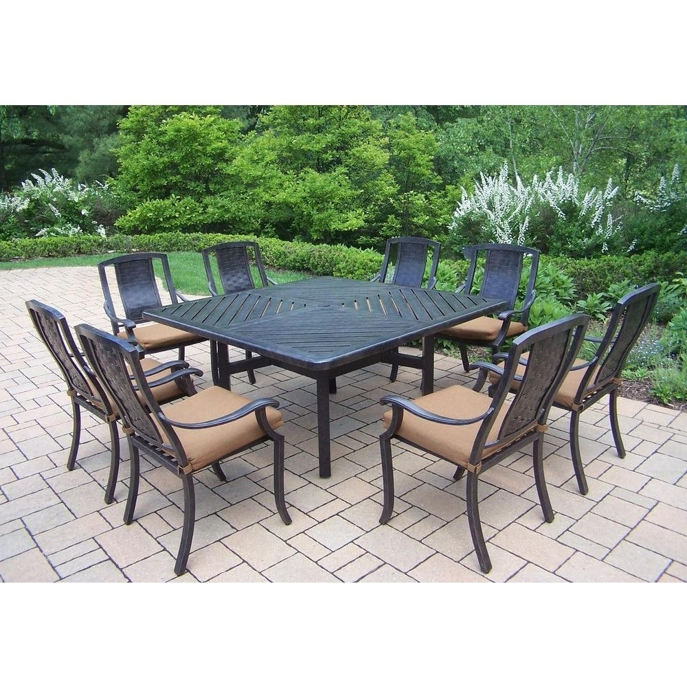 2017 Oakland Living 9 Piece Square Aluminum Patio Dining Set With Pertaining To Outdoor Brasilia Teak High Dining Tables (View 20 of 25)