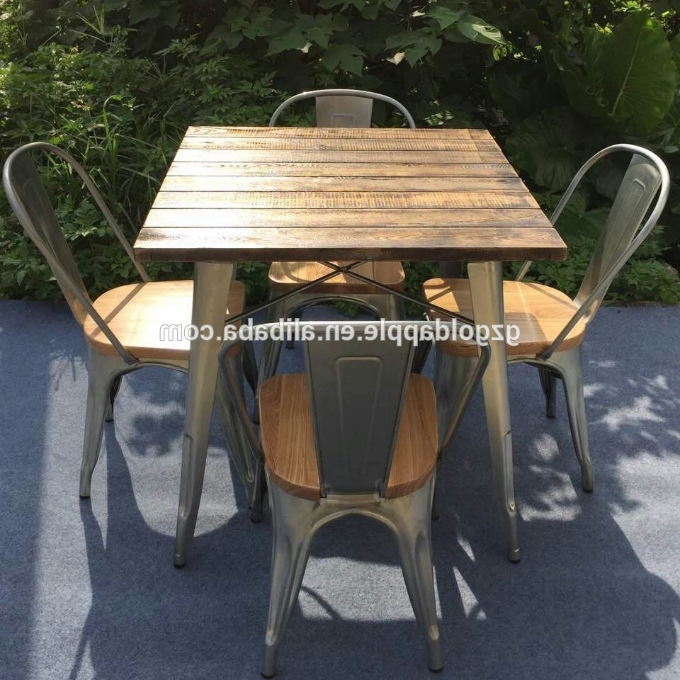 2017 Outdoor Garden Restaurant Dining Tables Furniture Retro Wooden for Garden Dining Tables And Chairs