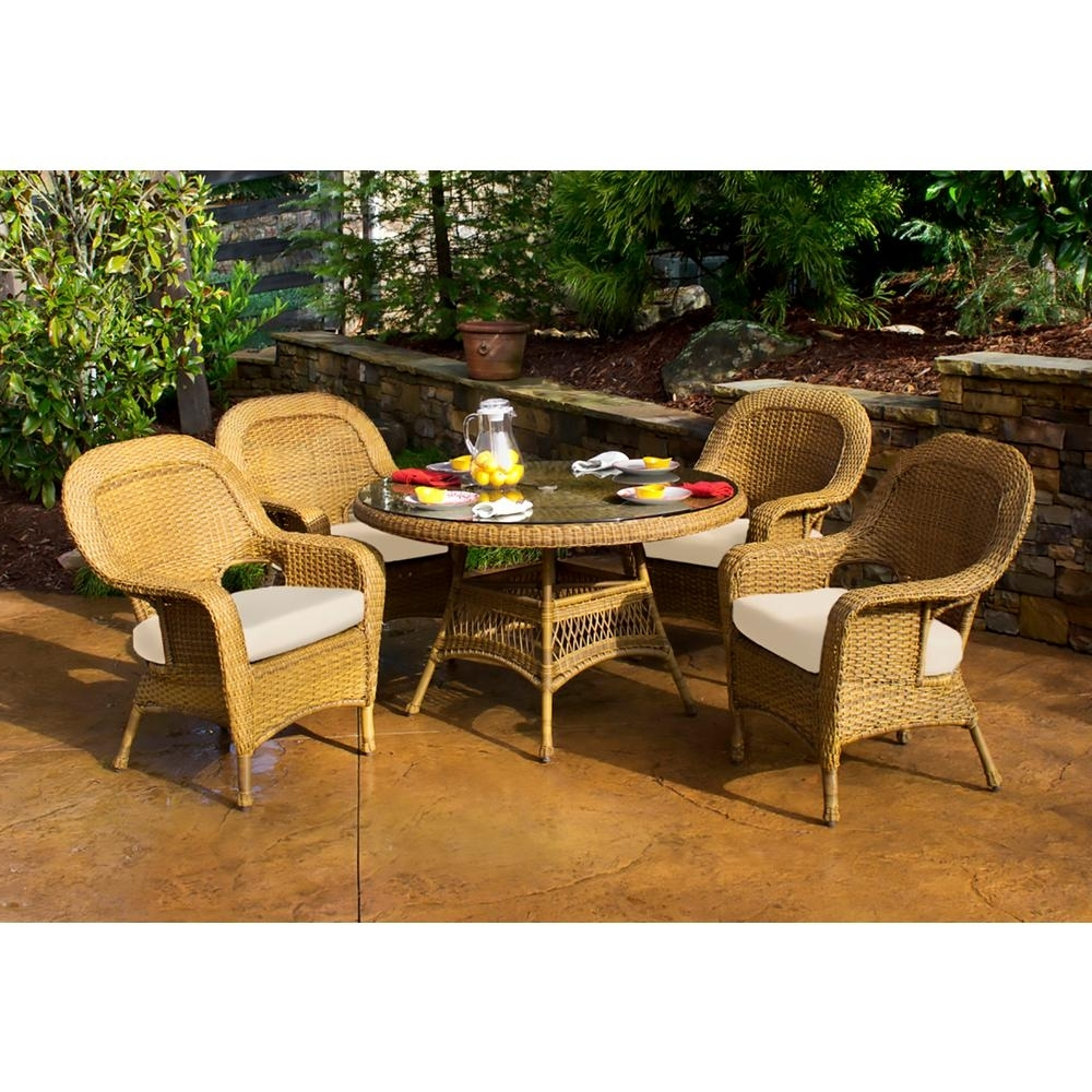 2017 Outdoor Tortuga Dining Tables Throughout Tortuga Outdoor Sea Pines Mojave 5 Piece Wicker Outdoor Dining Set (View 5 of 25)