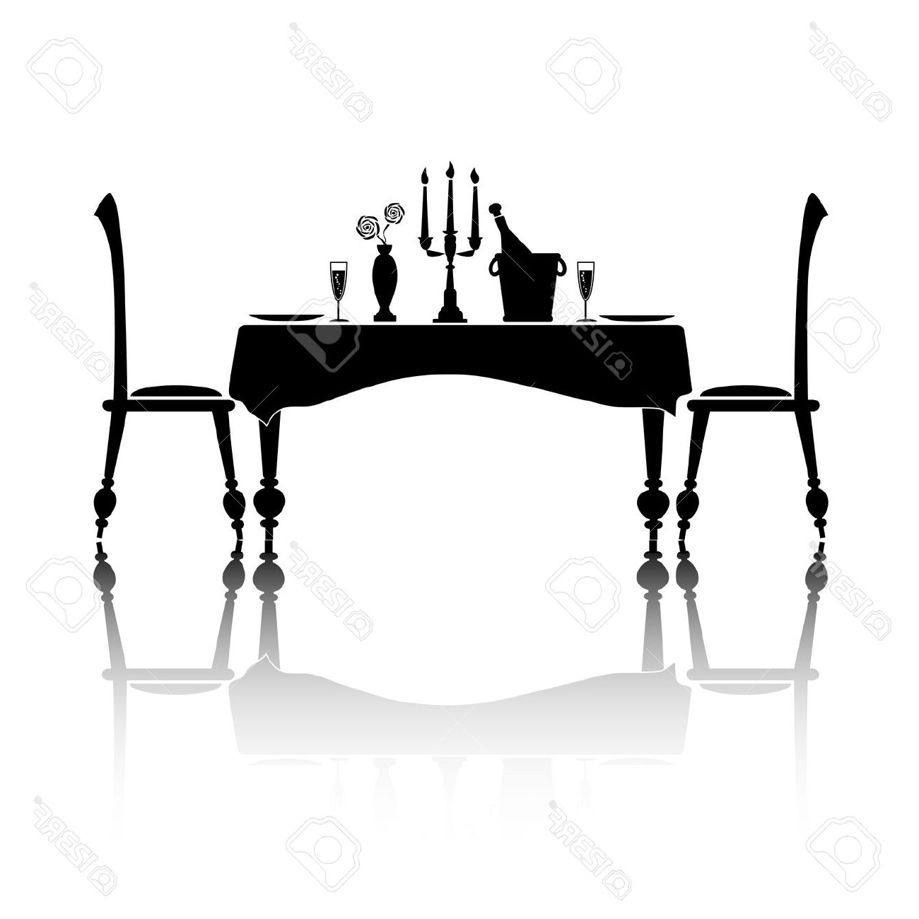 2017 Paris Dining Table Clipart Black And White Regarding Paris Dining Tables (Gallery 25 of 25)